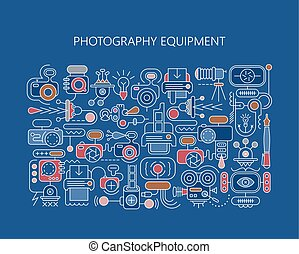 equipamento, fotografia, vetorial, bandeira, modelo