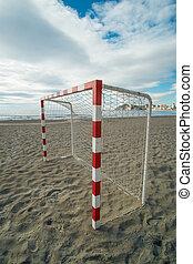 equipamento, futebol, praia