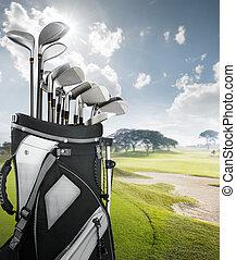equipamento golfe, em, a, curso