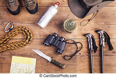 equipamento, hiking