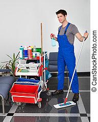 equipamento, homem, limpeza, jovem