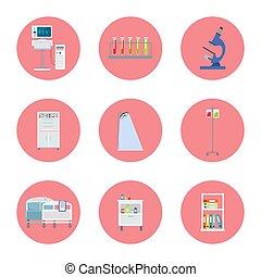 equipamento, hospitalar, vetorial, ilustração, ícones