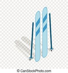 equipamento, isometric, esqui, ícone