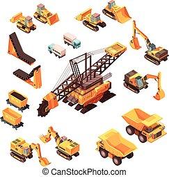equipamento, isometric, jogo, extractive