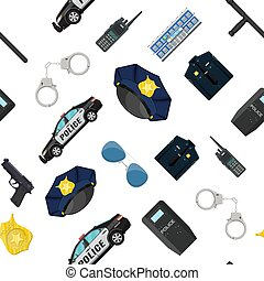 equipamento, jogo, polícia, seamless, pattern.