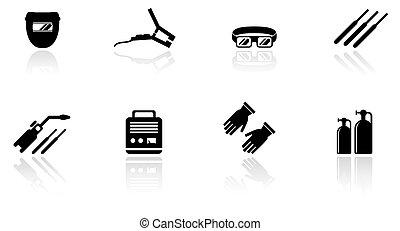 equipamento, jogo, soldadura, ícones
