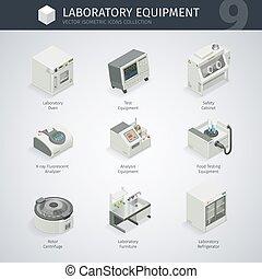 equipamento, laboratório, ícones