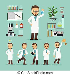 equipamento, laboratório, cientista, ícones