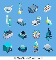 equipamento, laboratório, isometric, ícones