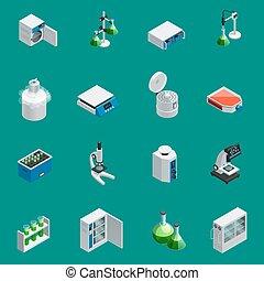 equipamento, laboratório, isometric, científico, ícones