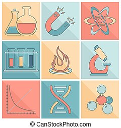 equipamento, laboratório, linha, apartamento, ícones