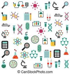 equipamento, laboratório, linha, jogo, ícones