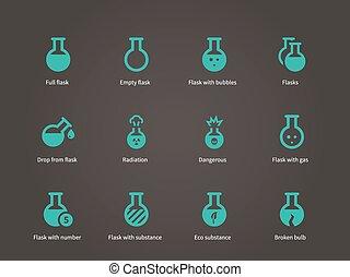 equipamento, laboratório, set., ícones