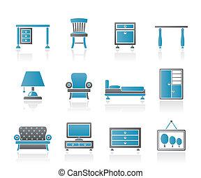 equipamento, lar, mobília, ícones