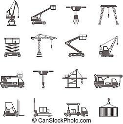 equipamento, levantamento, ícones