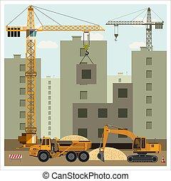 equipamento, local construção