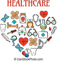 equipamento médico, ícones, em, forma, de, coração