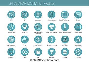 equipamento médico, ícones, jogo