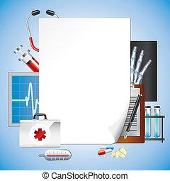 equipamento médico, com, em branco, papel, vetorial