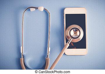 equipamento médico, estetoscópio, e, móvel, com, filtro, efeito, retro, vindima, estilo
