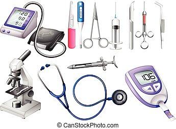 equipamento, médico, jogo