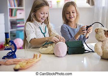equipamento médico, usado, por, garotinhas