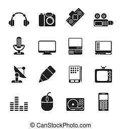 equipamento, mídia, ícones