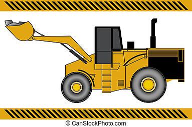 equipamento, maquinaria construção, escavador, carregador