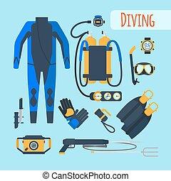 equipamento, mergulhar, ícones
