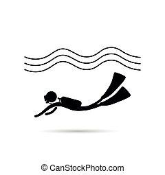 equipamento mergulho mergulhando, ícone, com, onda, vetorial