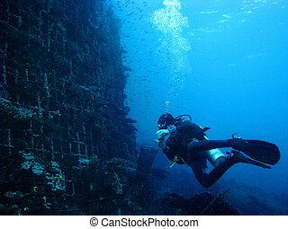 equipamento mergulho mergulhando