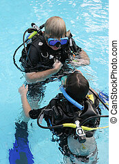 equipamento mergulho mergulhando, instrutor