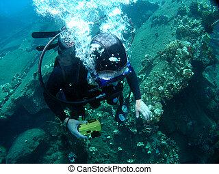 equipamento mergulho mergulhando, ligado, um, sunken, cais