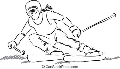 equipamento, mulher, illustrati, esqui