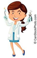 equipamento, odontólogo, femininas