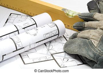 equipamento, para, construtor