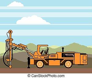 equipamento perfurando, trator, veículo