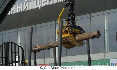 equipamento pesado, carregando, com, tosquiadeira, corte,...