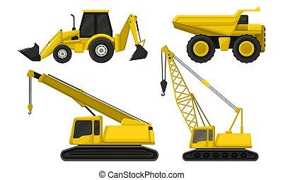 equipamento pesado, maquinaria, veículos, construção, estrada, especiais, vetorial, set., isolado