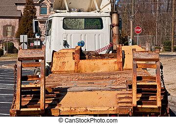 equipamento pesado, reboque, ligado, estrada