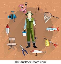 equipamento, pescador, pesca