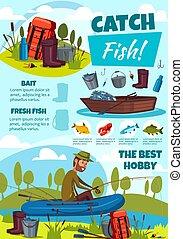 equipamento, pescador, pesca esporte, cartaz