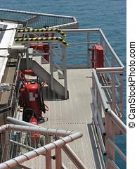 equipamento, poço, emergência, heli-deck