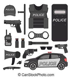 equipamento, polícia