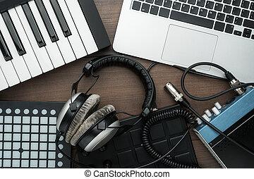 equipamento, producao, música