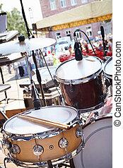 equipamento, rua, partido., musical, stage.