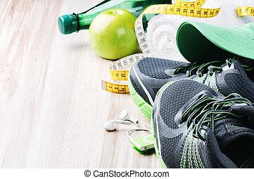equipamento, sapatos correntes, condicão física