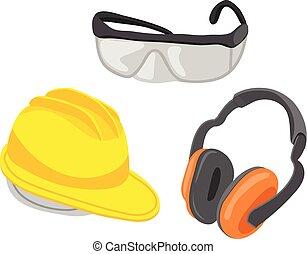equipamento segurança, vetorial, cobrança, desenho