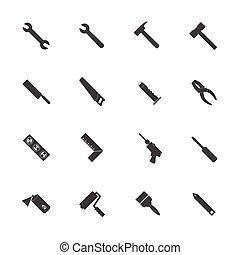 equipamento, set., construção, ícones