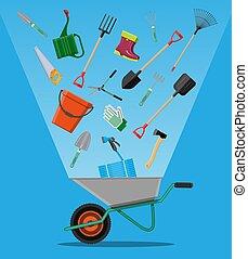 equipamento, set., jardinagem, cultive ferramentas